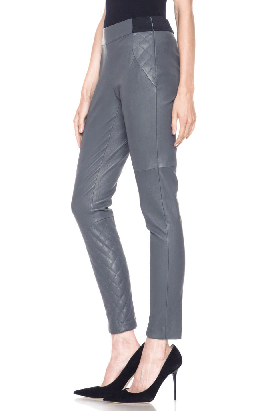 Image 2 of Thakoon Addition Lambskin Leather Legging in Grey