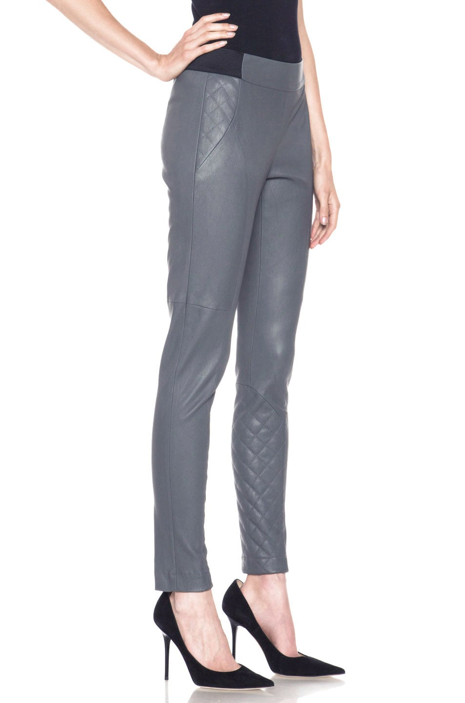 Image 3 of Thakoon Addition Lambskin Leather Legging in Grey