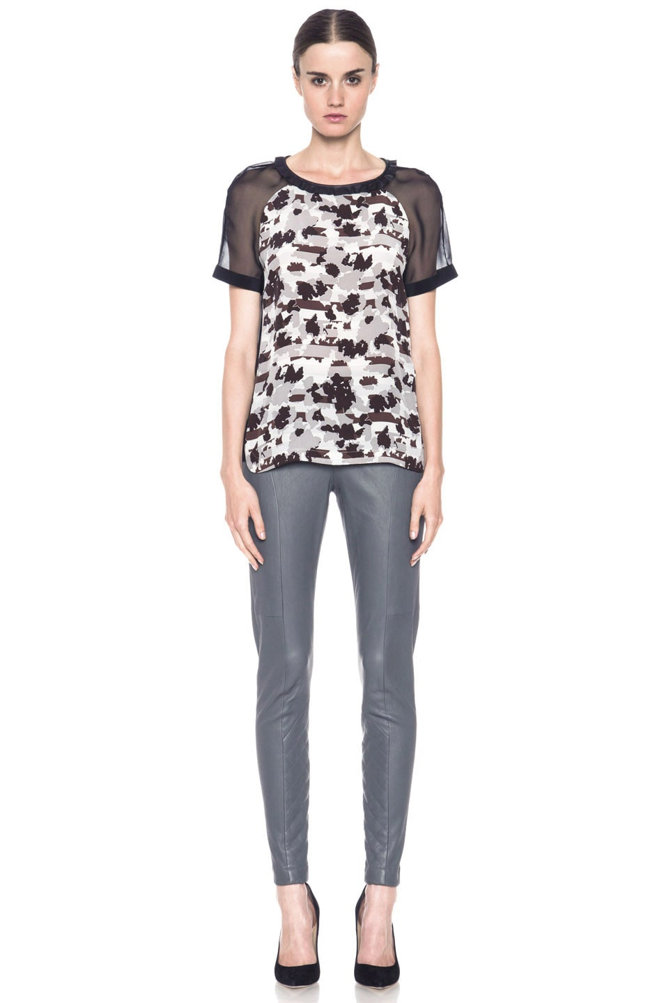 Image 5 of Thakoon Addition Lambskin Leather Legging in Grey