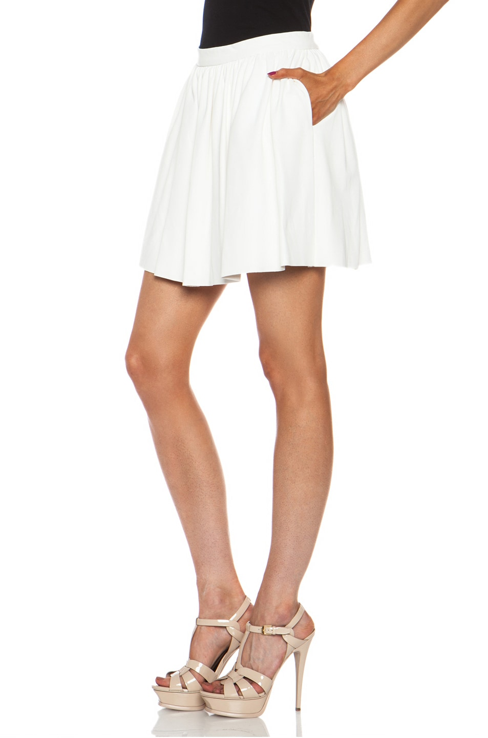 Image 2 of Thakoon Addition Pleated Lambskin Leather Full Skirt in White