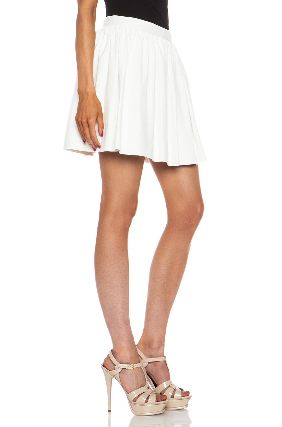 Image 3 of Thakoon Addition Pleated Lambskin Leather Full Skirt in White