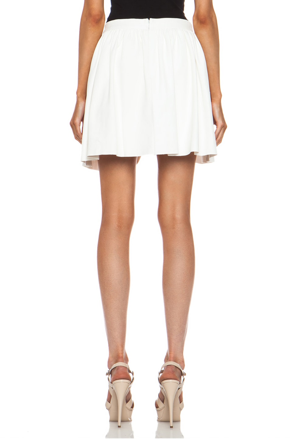 Image 4 of Thakoon Addition Pleated Lambskin Leather Full Skirt in White