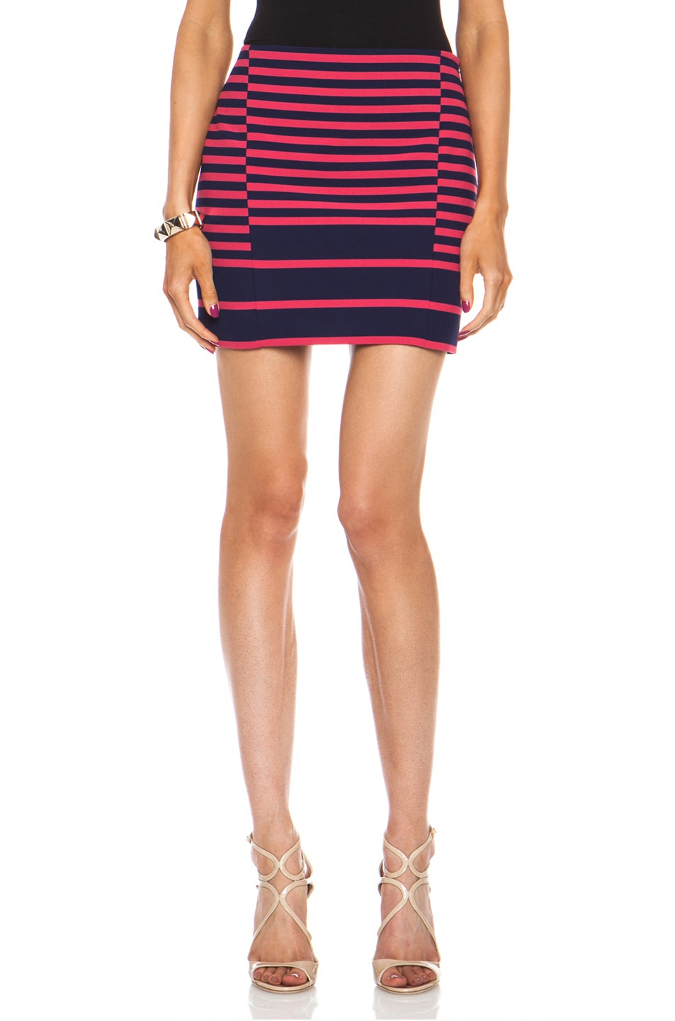 Image 1 of Thakoon Addition Striped Poly-Blend Skirt in Navy & Pink