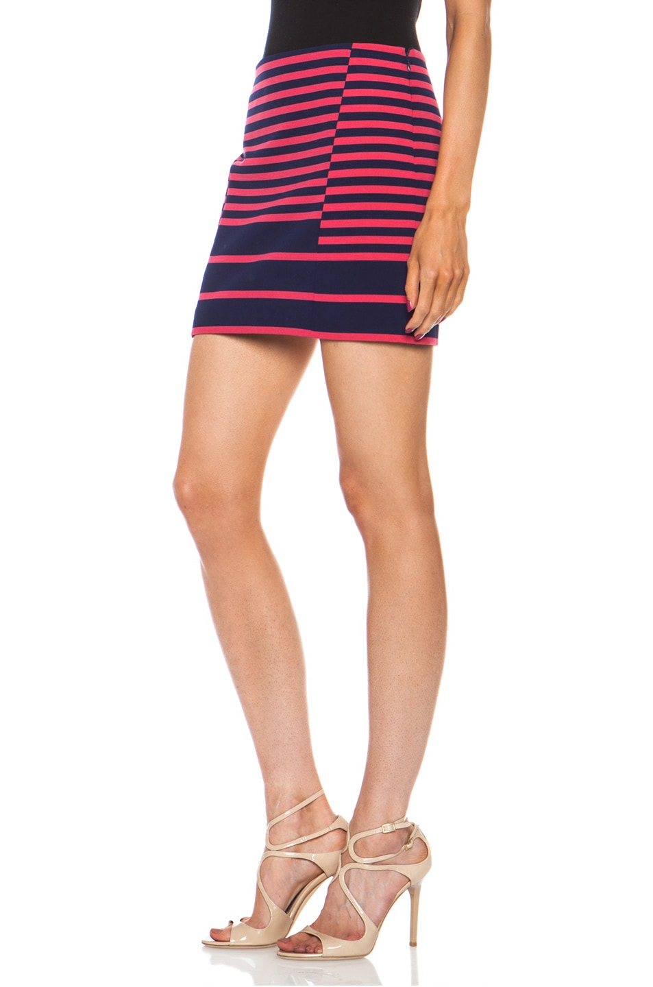 Image 2 of Thakoon Addition Striped Poly-Blend Skirt in Navy & Pink