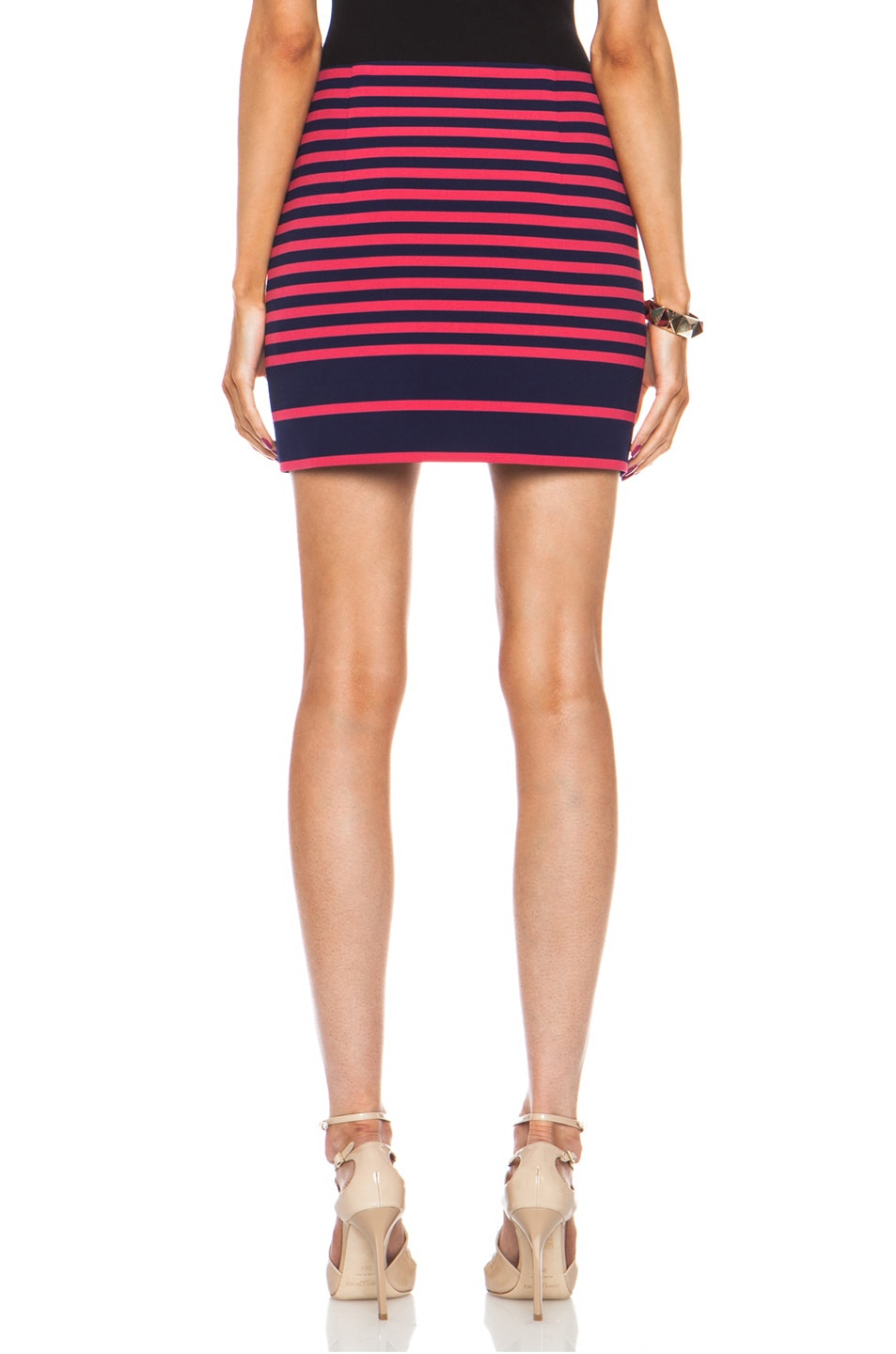 Image 4 of Thakoon Addition Striped Poly-Blend Skirt in Navy & Pink