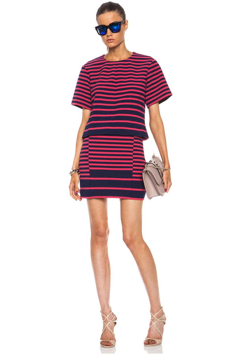 Image 5 of Thakoon Addition Striped Poly-Blend Skirt in Navy & Pink