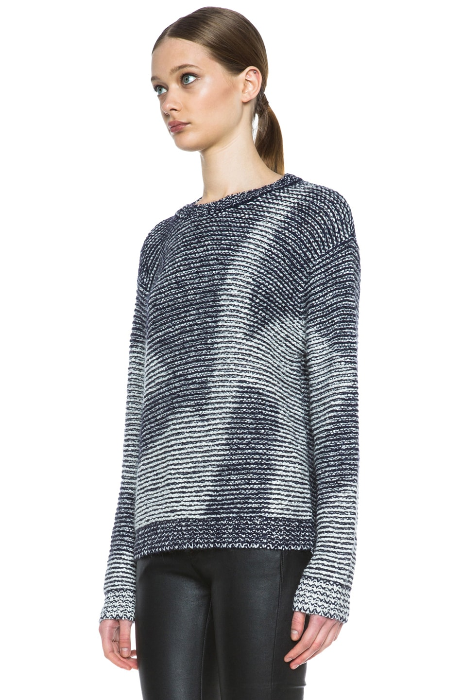 Image 2 of Theyskens' Theory Kari Silk-Blend Sweater in Navy & Creme