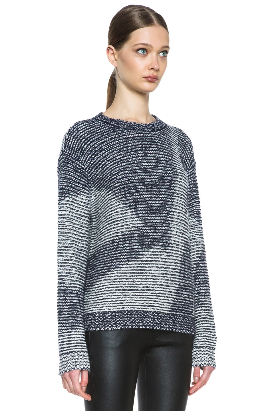 Image 3 of Theyskens' Theory Kari Silk-Blend Sweater in Navy & Creme