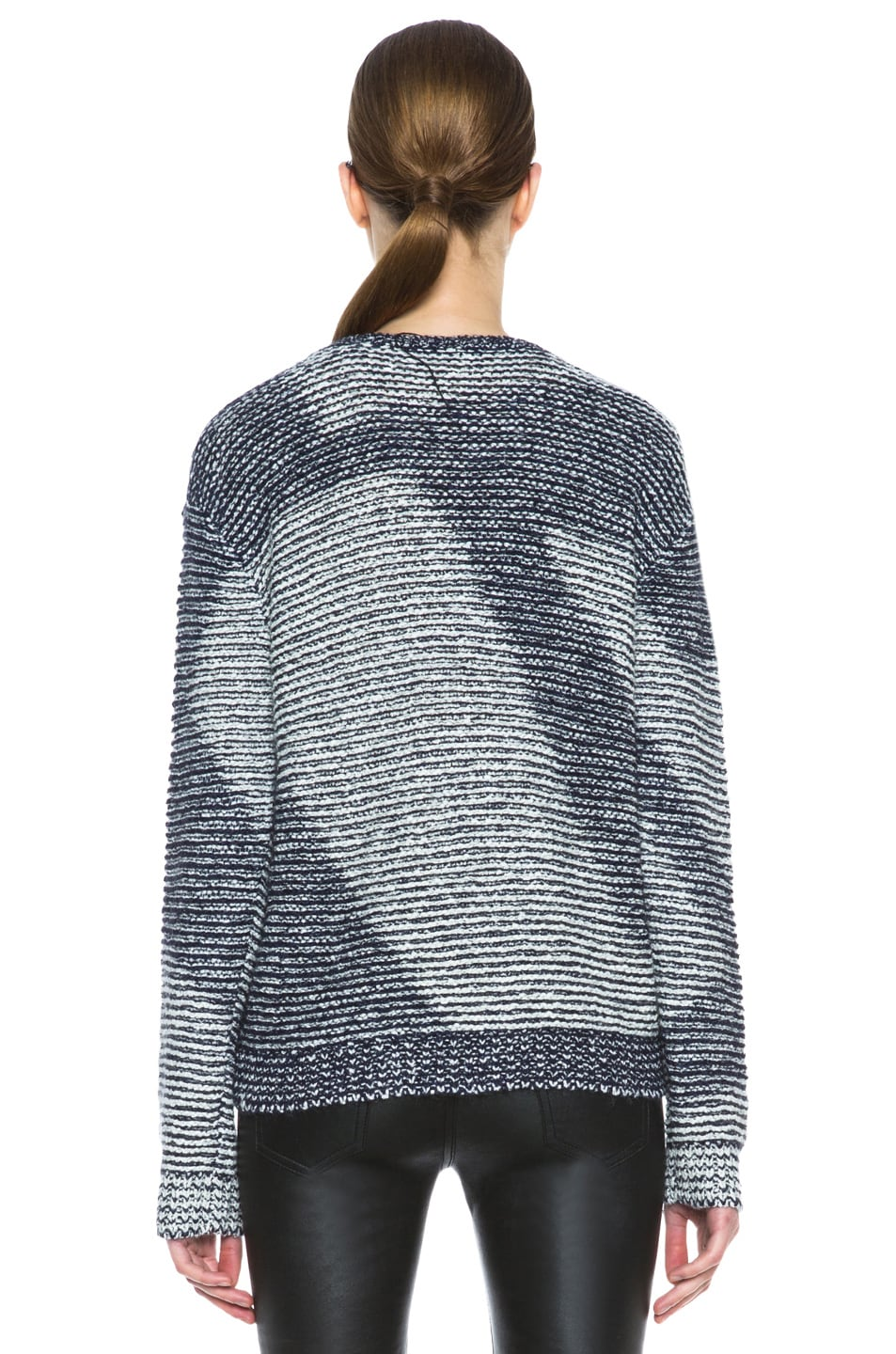 Image 4 of Theyskens' Theory Kari Silk-Blend Sweater in Navy & Creme