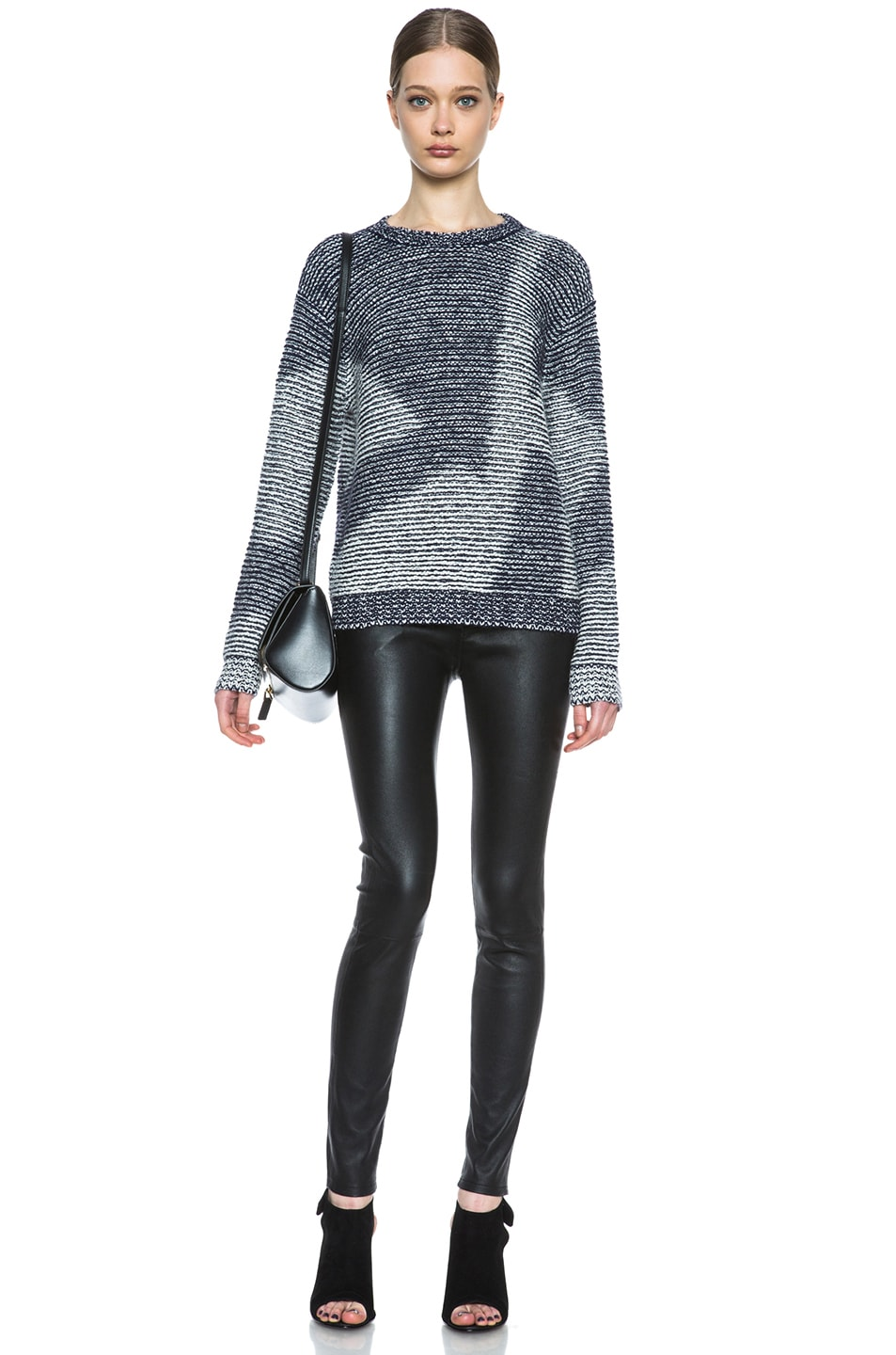 Image 5 of Theyskens' Theory Kari Silk-Blend Sweater in Navy & Creme