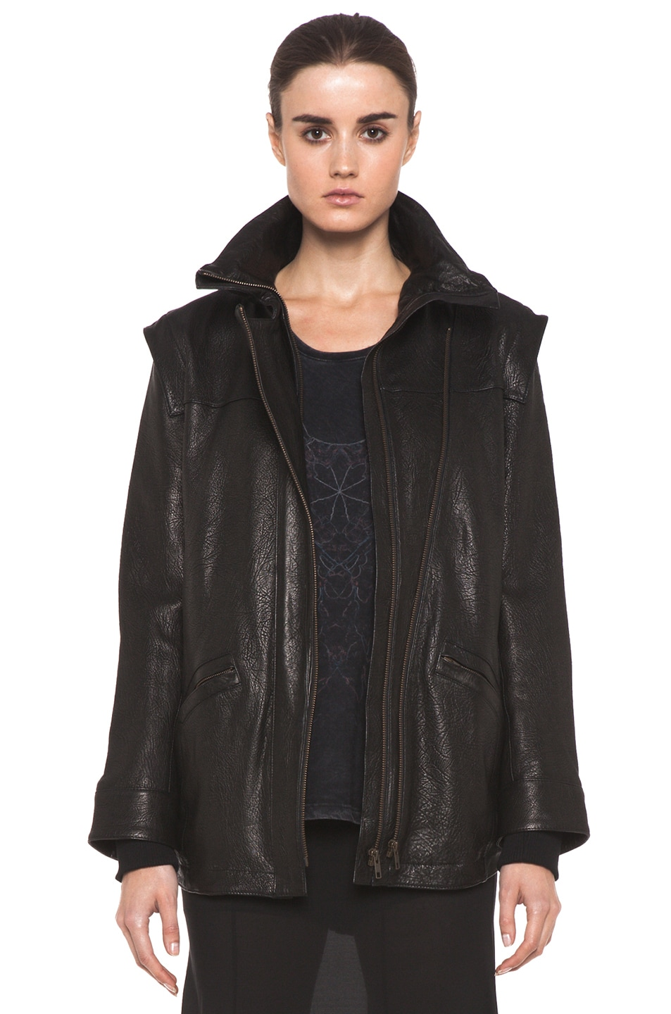Image 1 of Theyskens' Theory Maalie Nuno Leather Jacket in Black