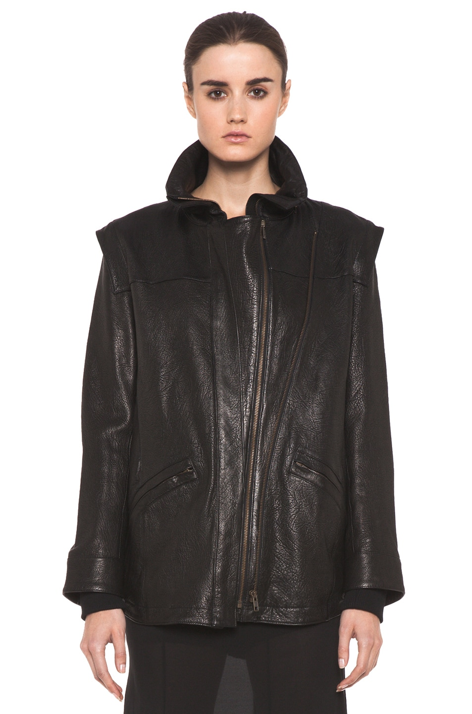 Image 2 of Theyskens' Theory Maalie Nuno Leather Jacket in Black