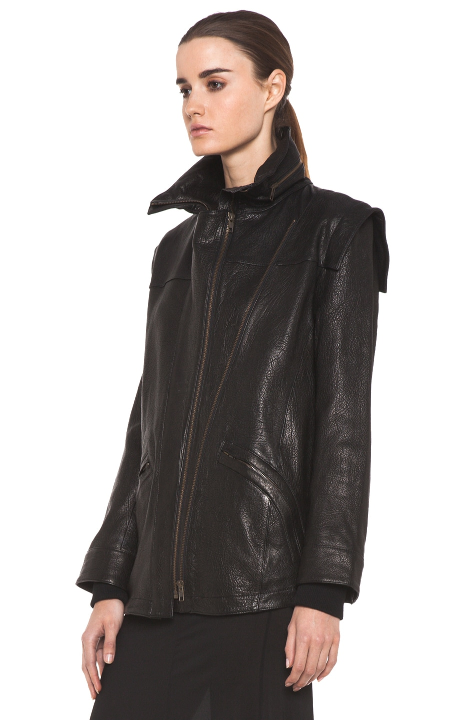 Image 3 of Theyskens' Theory Maalie Nuno Leather Jacket in Black