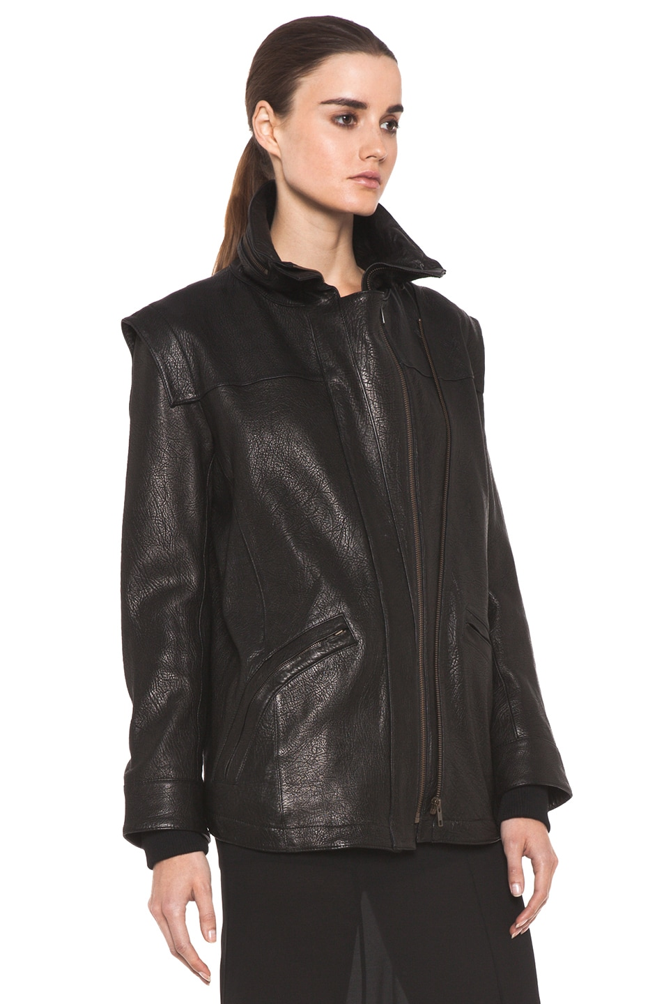 Image 4 of Theyskens' Theory Maalie Nuno Leather Jacket in Black