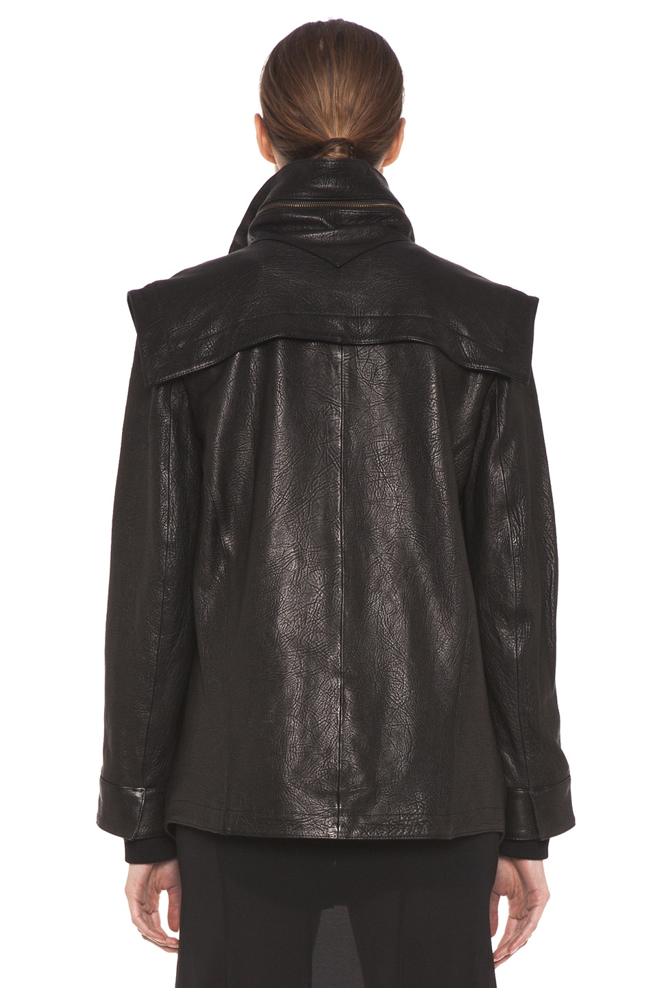 Image 5 of Theyskens' Theory Maalie Nuno Leather Jacket in Black