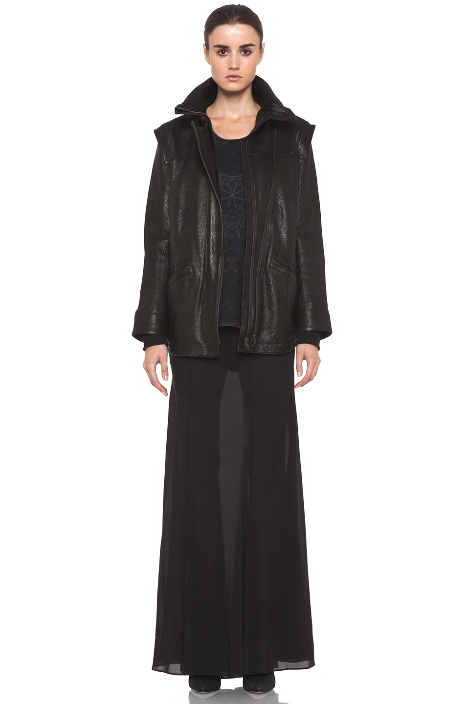Image 6 of Theyskens' Theory Maalie Nuno Leather Jacket in Black