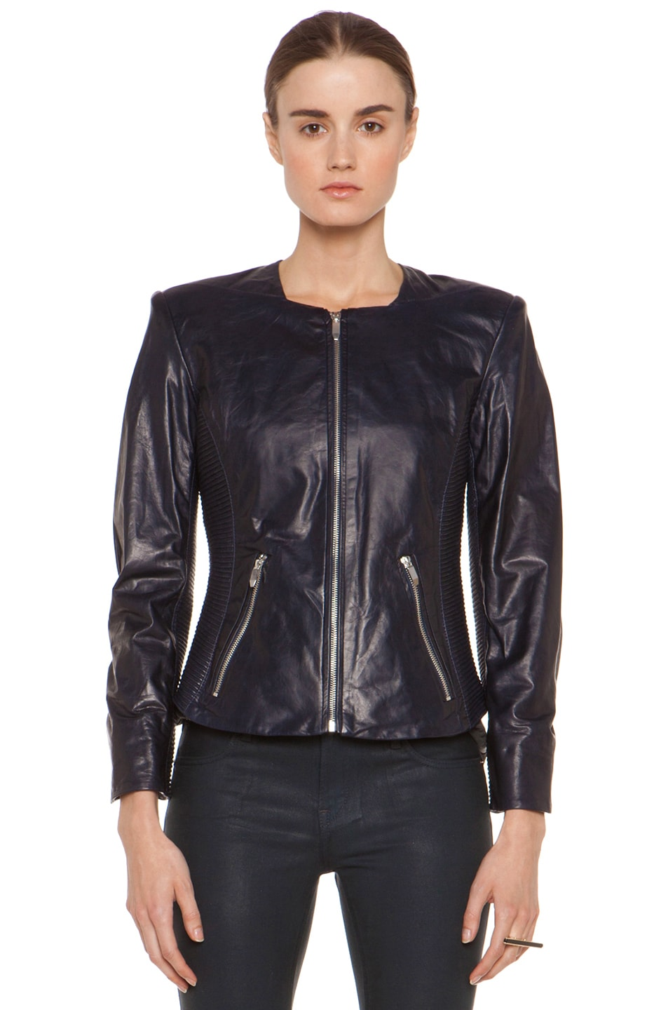 Image 2 of Theyskens' Theory Jadra Nolfora Leather Jacket in Dark Marine