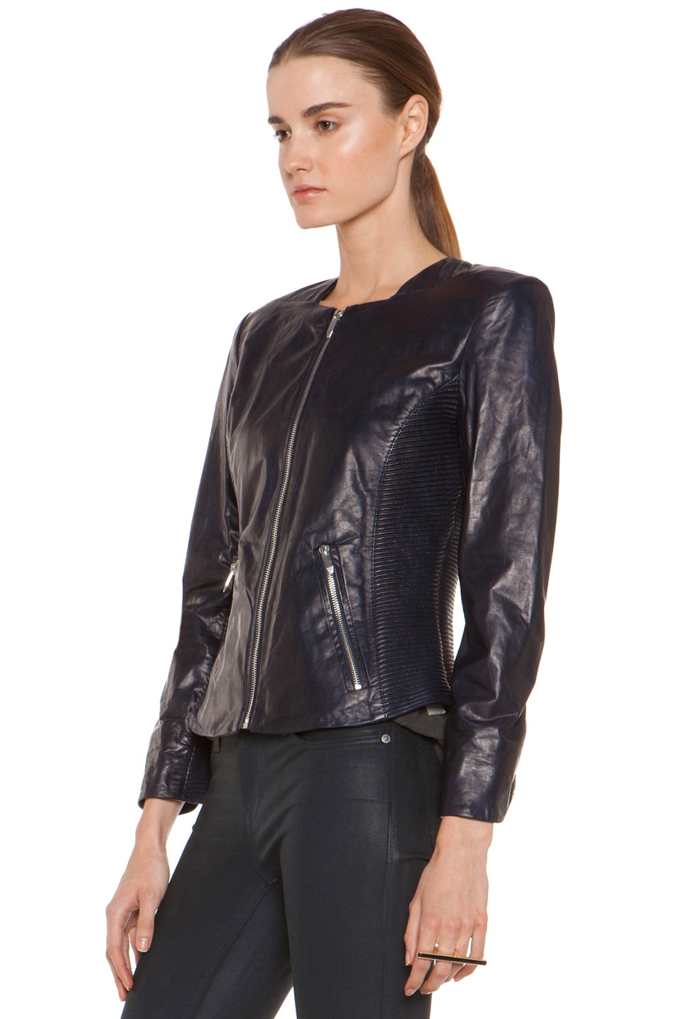 Image 3 of Theyskens' Theory Jadra Nolfora Leather Jacket in Dark Marine