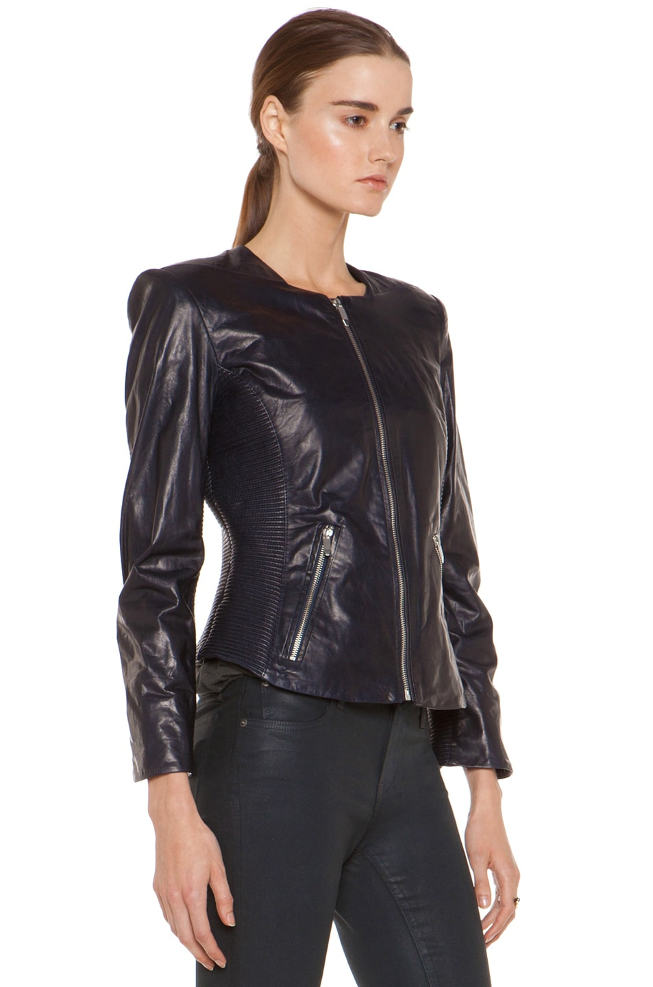 Image 4 of Theyskens' Theory Jadra Nolfora Leather Jacket in Dark Marine