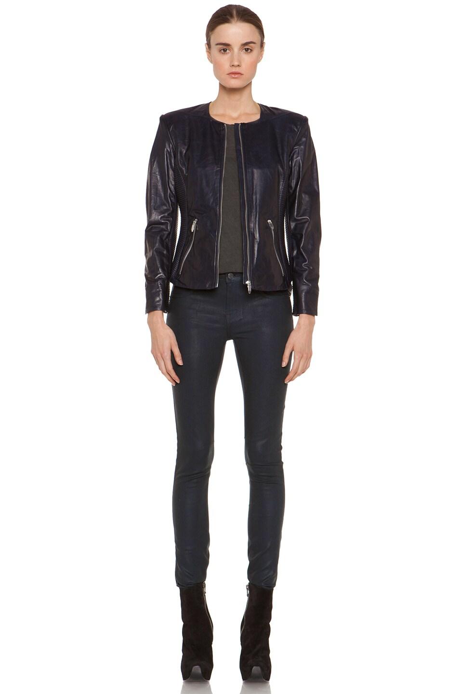 Image 6 of Theyskens' Theory Jadra Nolfora Leather Jacket in Dark Marine