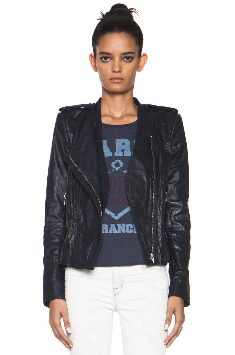 Image 1 of Theyskens' Theory Nota Jose Leather Blazer in Marine