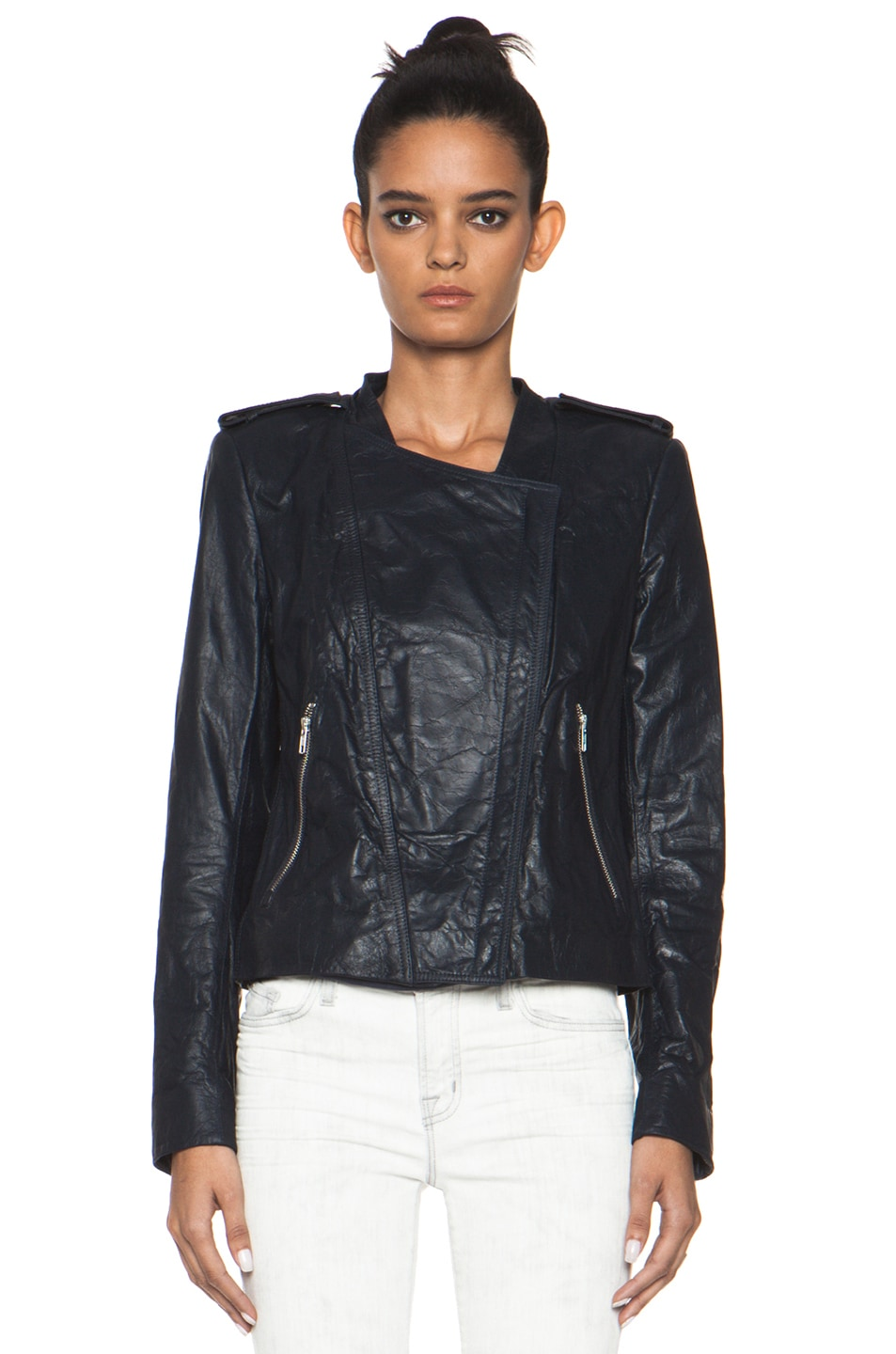 Image 2 of Theyskens' Theory Nota Jose Leather Blazer in Marine