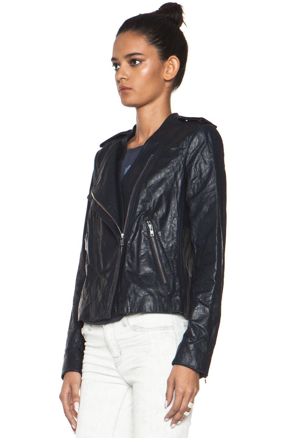 Image 3 of Theyskens' Theory Nota Jose Leather Blazer in Marine