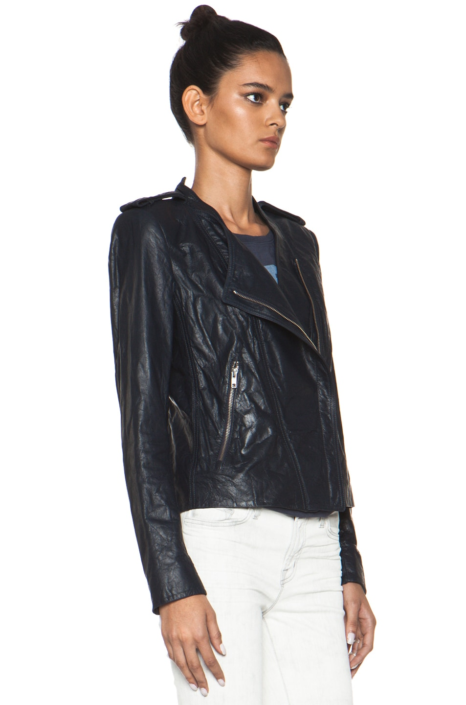 Image 4 of Theyskens' Theory Nota Jose Leather Blazer in Marine