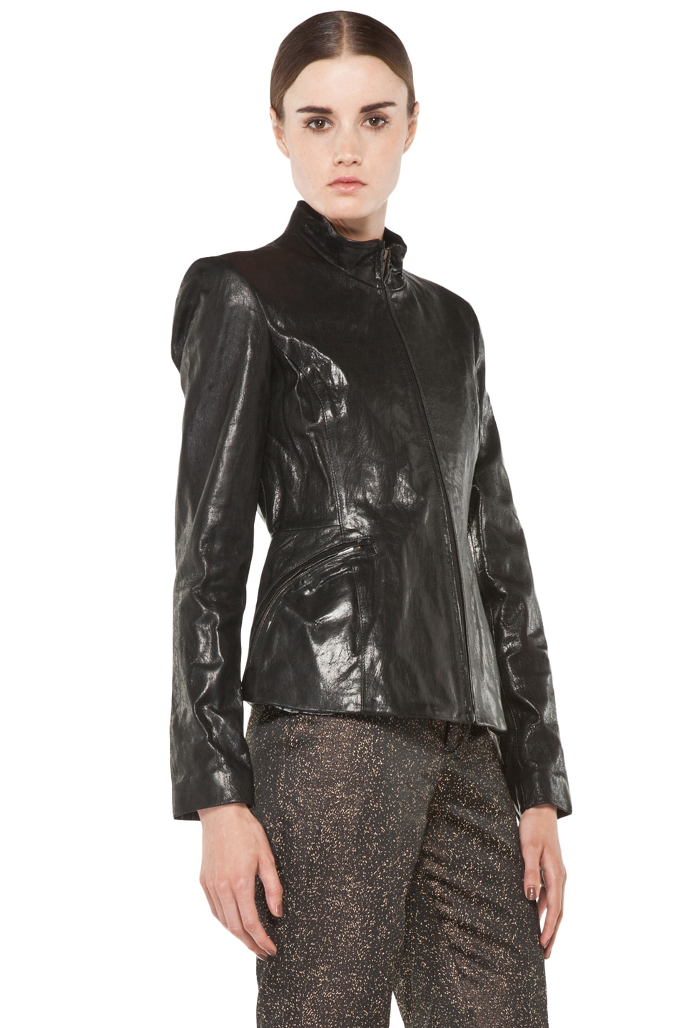 Image 4 of Theyskens' Theory Jabari Nurin Leather Jacket in Black