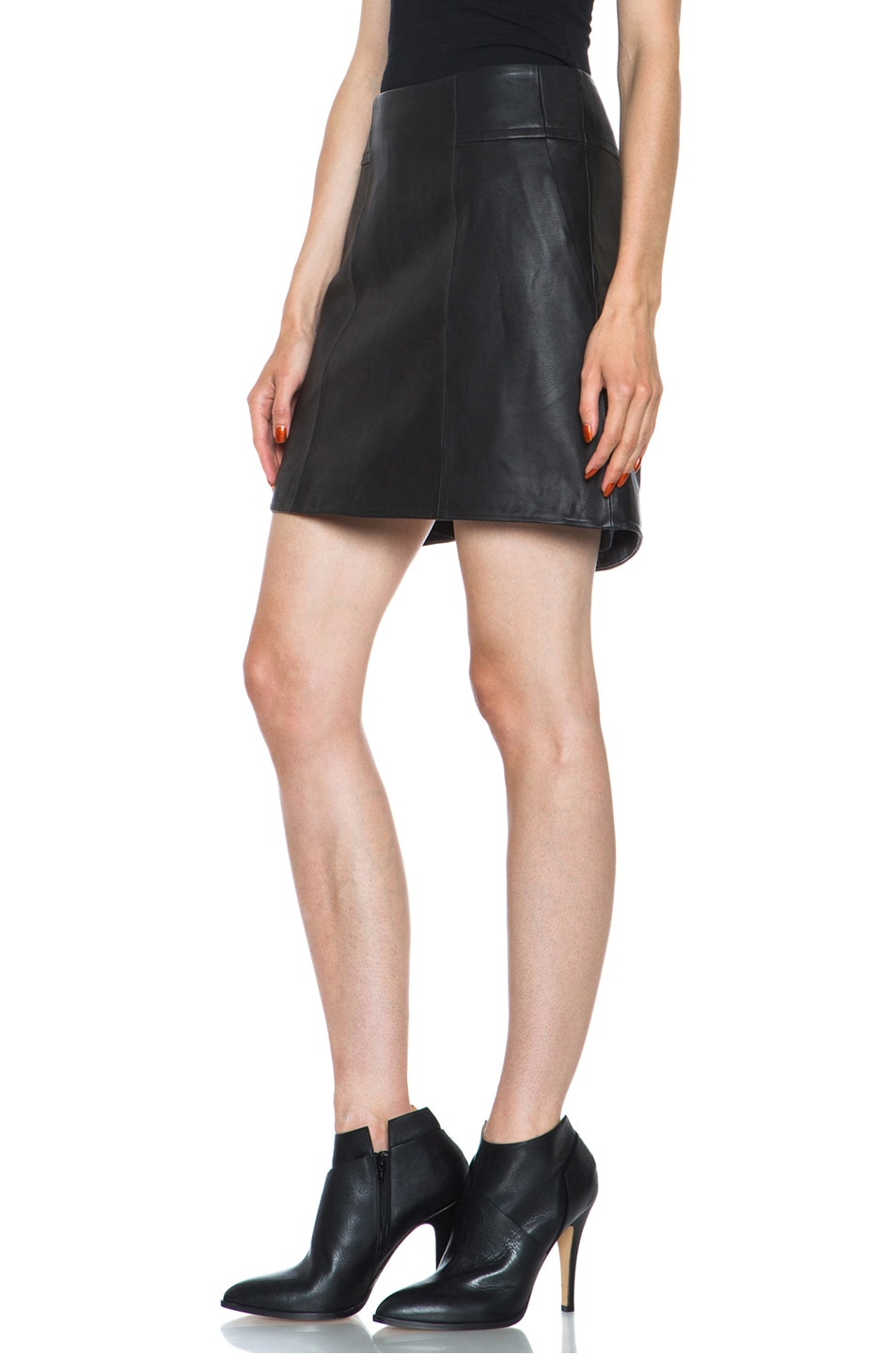 Image 2 of Theyskens' Theory Swick Calfskin Leather Skirt in Black