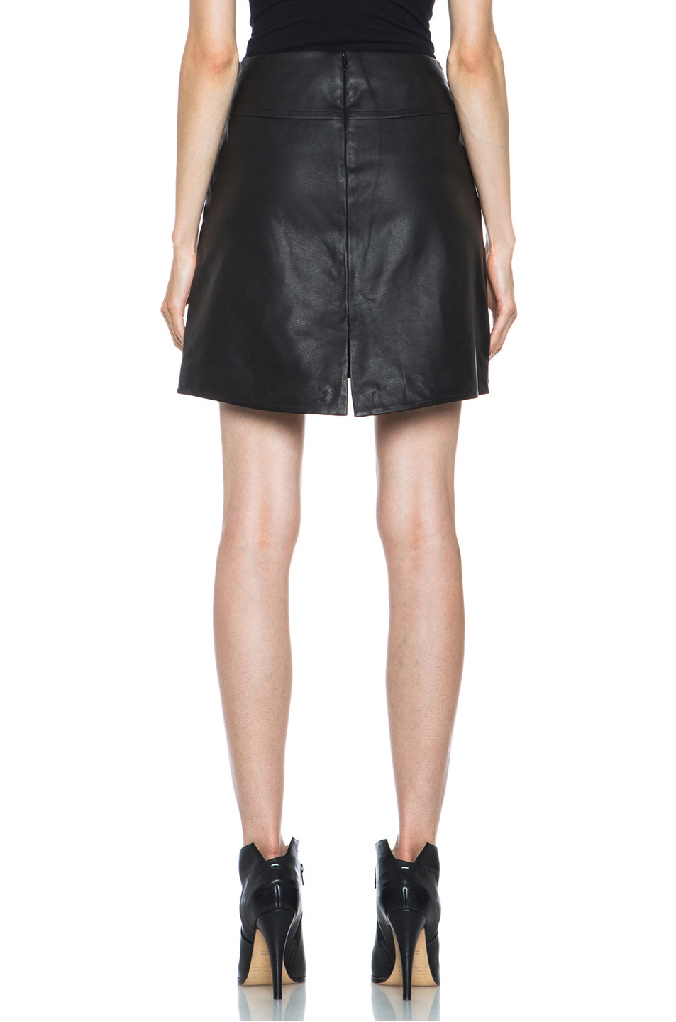 Image 4 of Theyskens' Theory Swick Calfskin Leather Skirt in Black