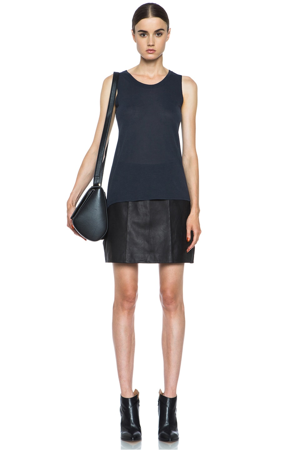 Image 5 of Theyskens' Theory Swick Calfskin Leather Skirt in Black