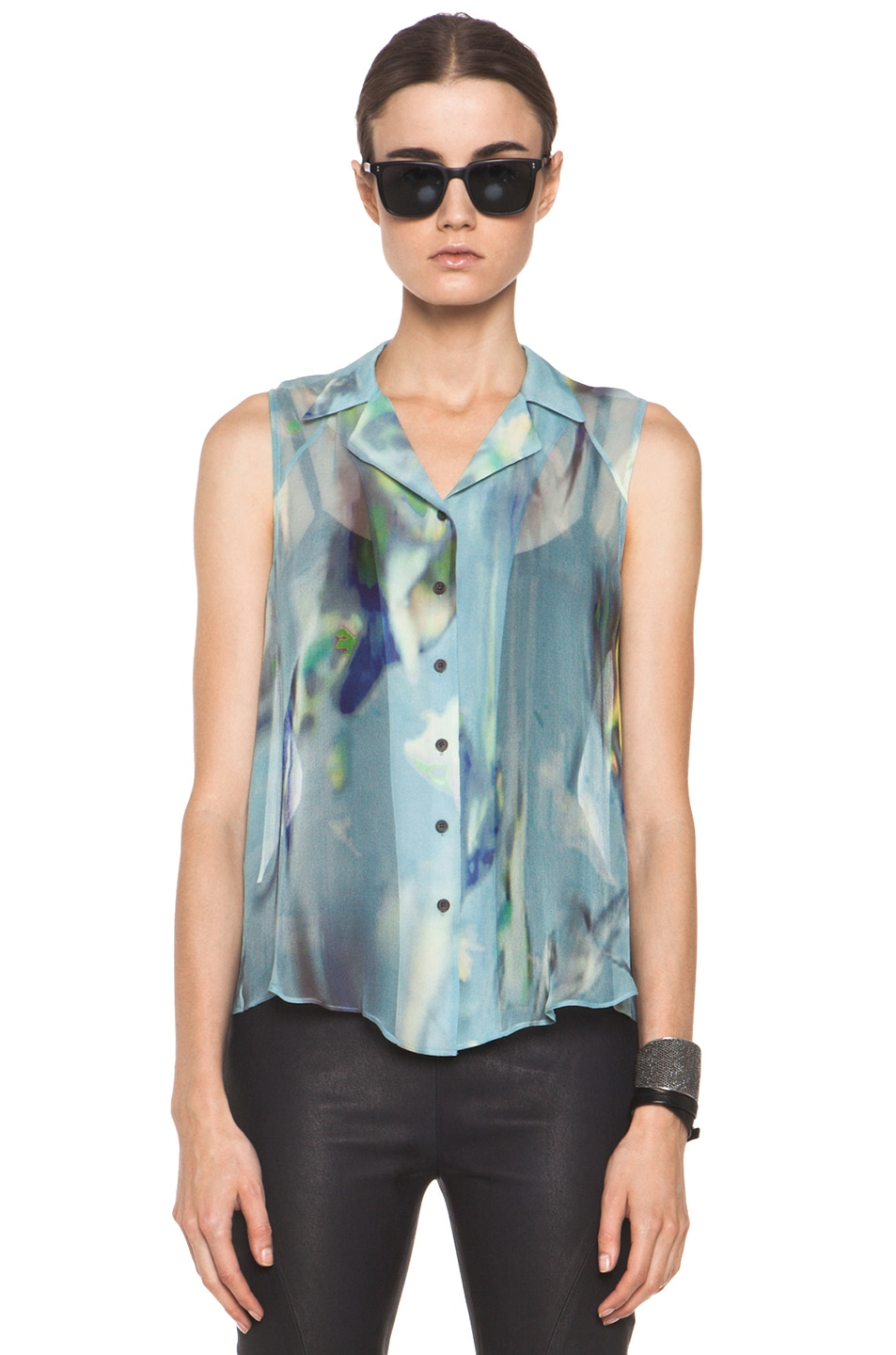 Image 1 of Theyskens' Theory Badge Iplume Silk Sleeveless Blouse in Blue Multi