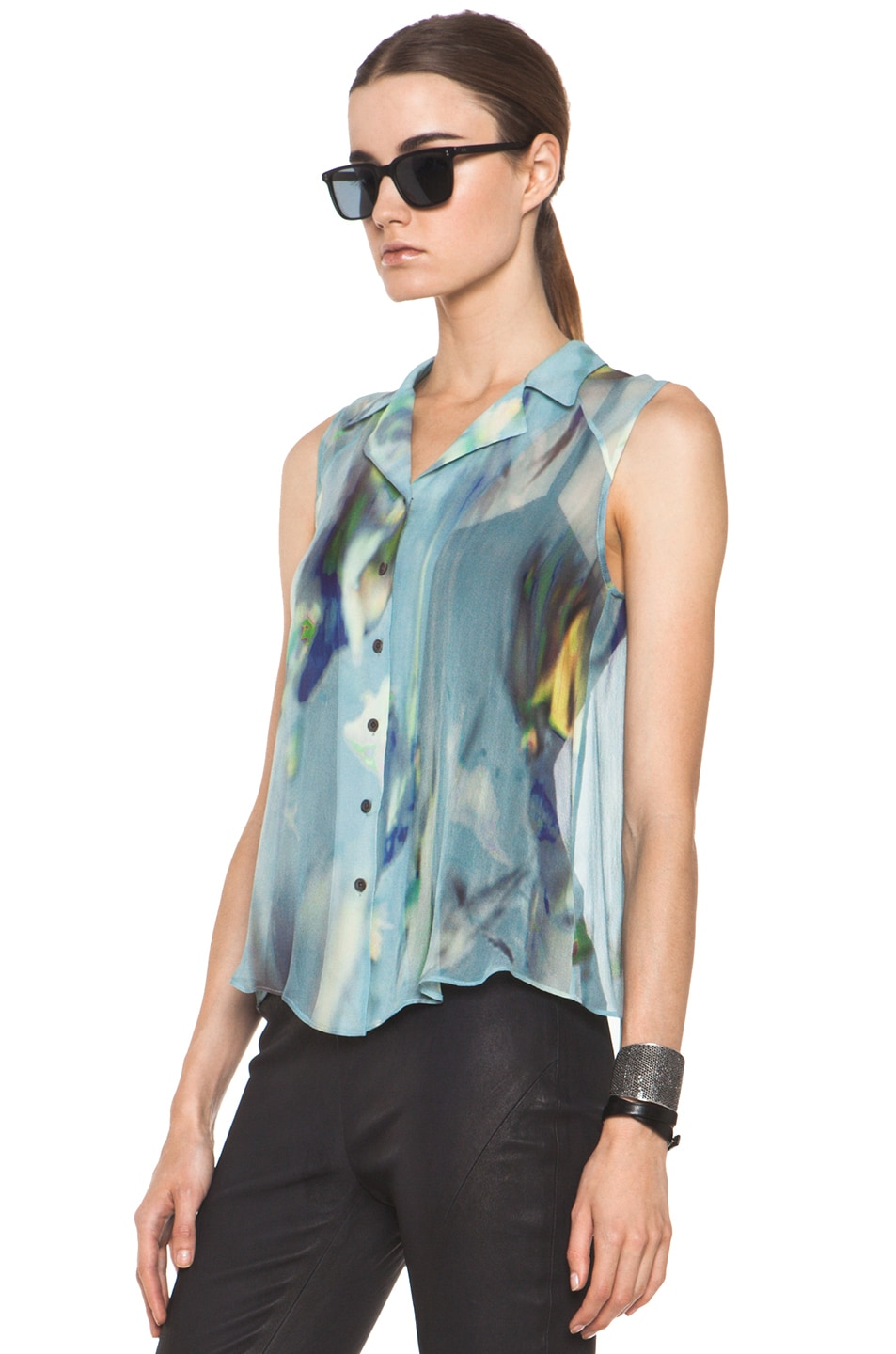 Image 2 of Theyskens' Theory Badge Iplume Silk Sleeveless Blouse in Blue Multi