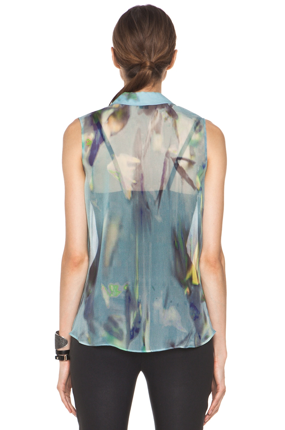 Image 4 of Theyskens' Theory Badge Iplume Silk Sleeveless Blouse in Blue Multi