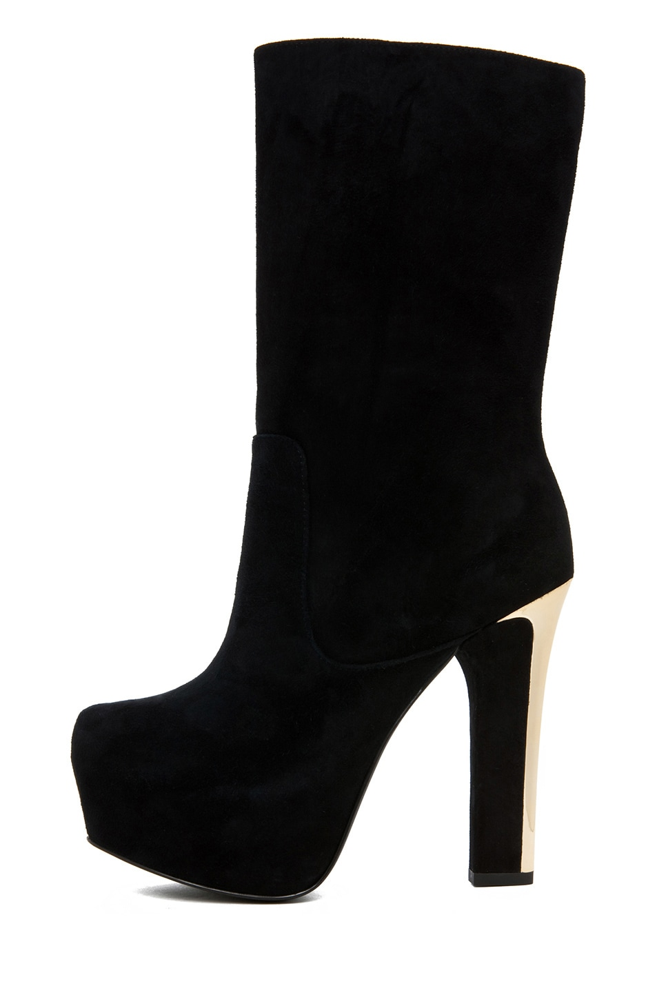 Image 1 of Theyskens' Theory Emilie Aved Suede Crop Boot in Black
