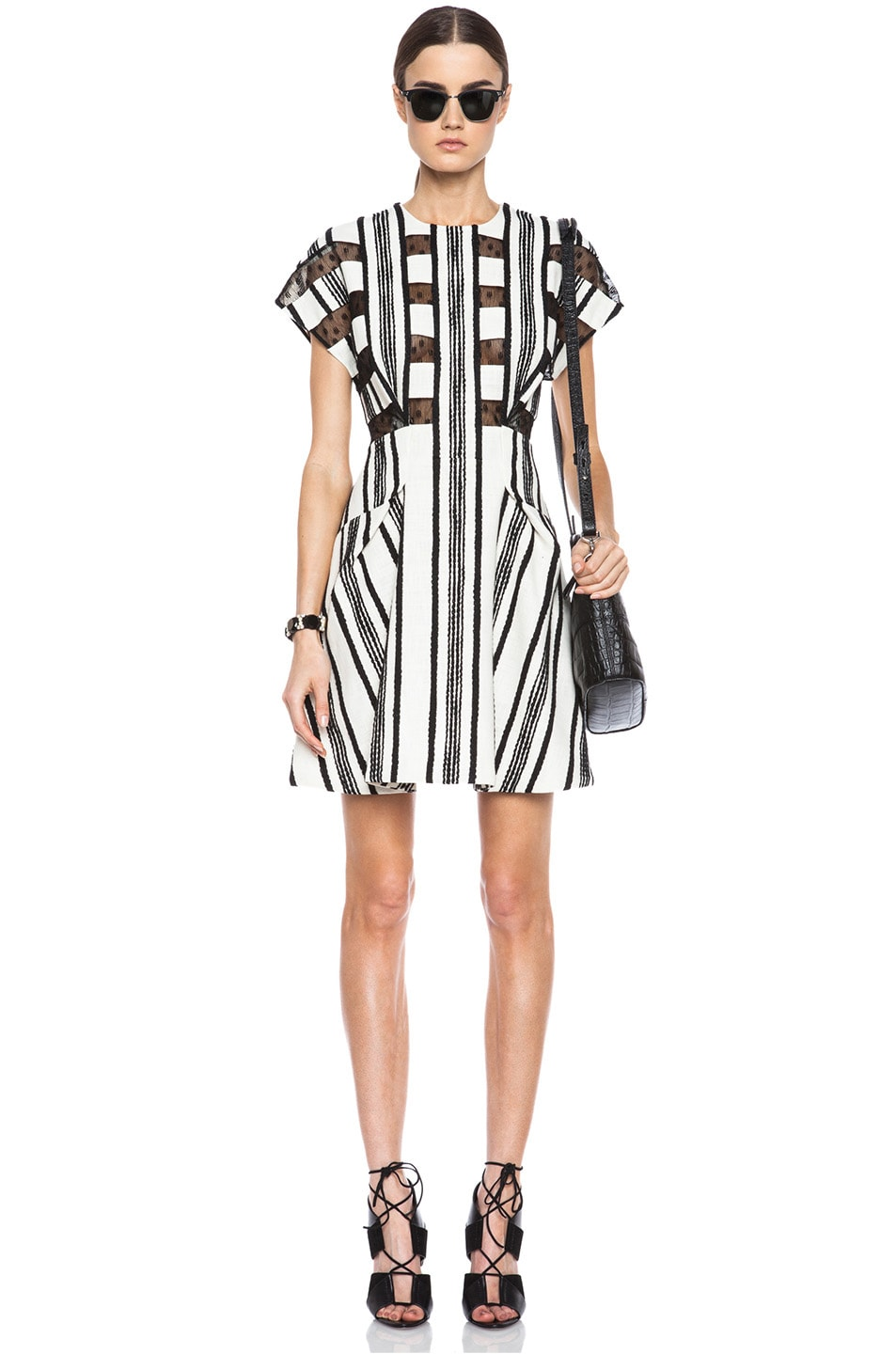 Image 1 of Thakoon Lace Inset Cotton A-Line Dress in Black & White