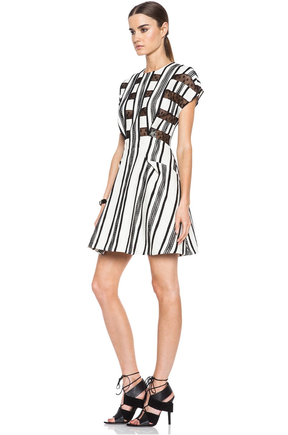Image 2 of Thakoon Lace Inset Cotton A-Line Dress in Black & White