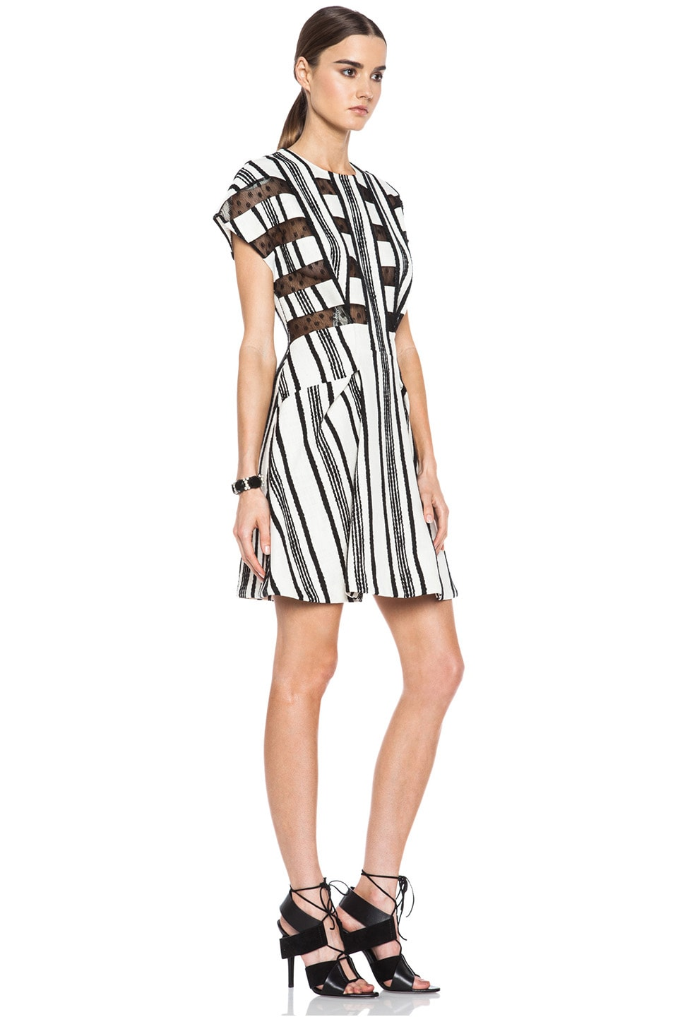 Image 3 of Thakoon Lace Inset Cotton A-Line Dress in Black & White