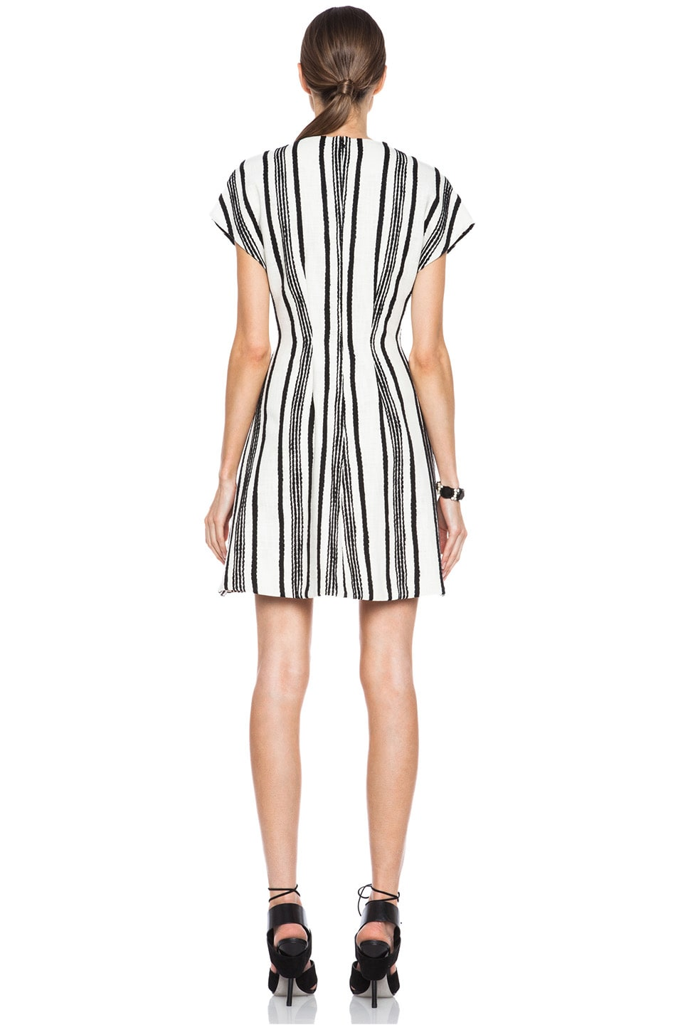 Image 4 of Thakoon Lace Inset Cotton A-Line Dress in Black & White