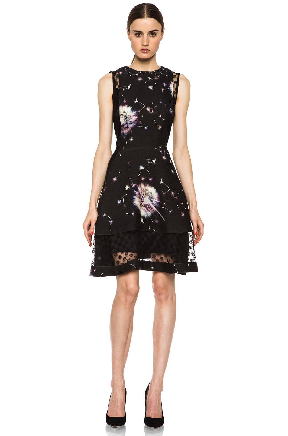 Image 1 of Thakoon Lace Inset Wool Dress in Black Multi