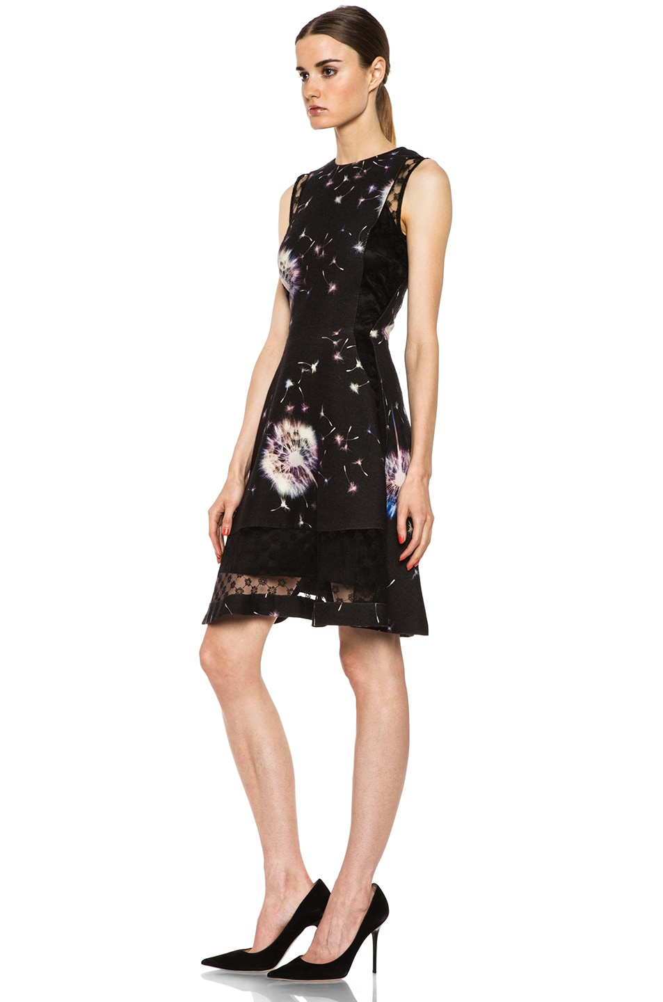 Image 2 of Thakoon Lace Inset Wool Dress in Black Multi