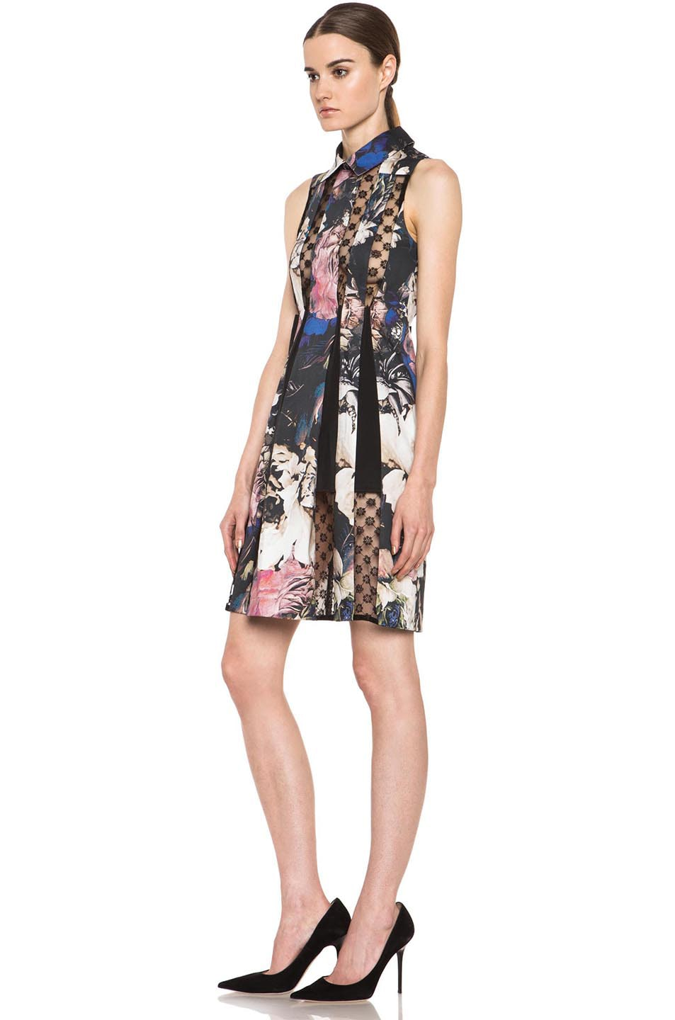 Image 2 of Thakoon Collared Lace Insert Cotton-Blend Dress in Black Multi