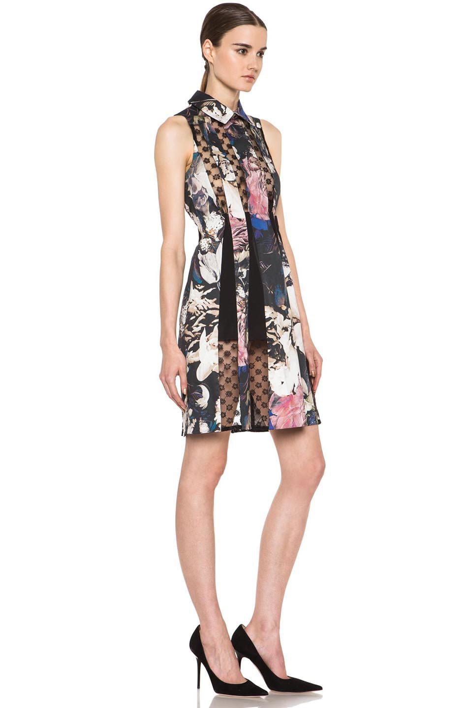 Image 3 of Thakoon Collared Lace Insert Cotton-Blend Dress in Black Multi