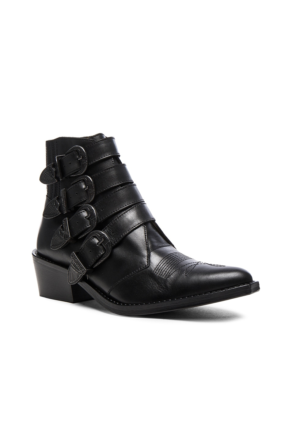 Image 2 of TOGA PULLA Buckled Leather Booties in Black Velvet