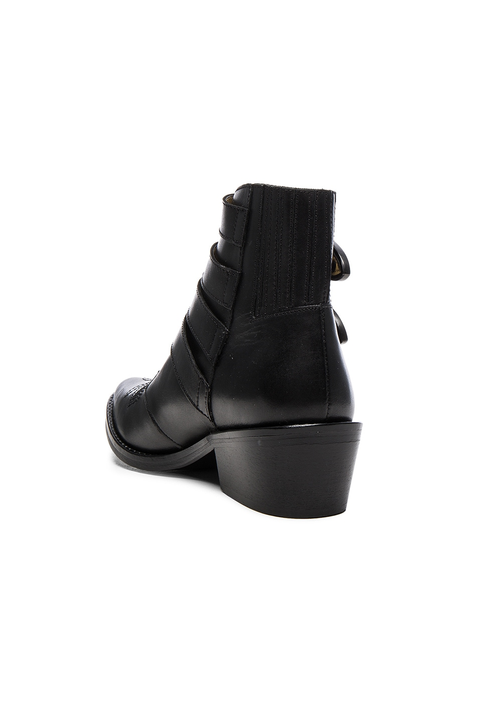 Image 3 of TOGA PULLA Buckled Leather Booties in Black Velvet
