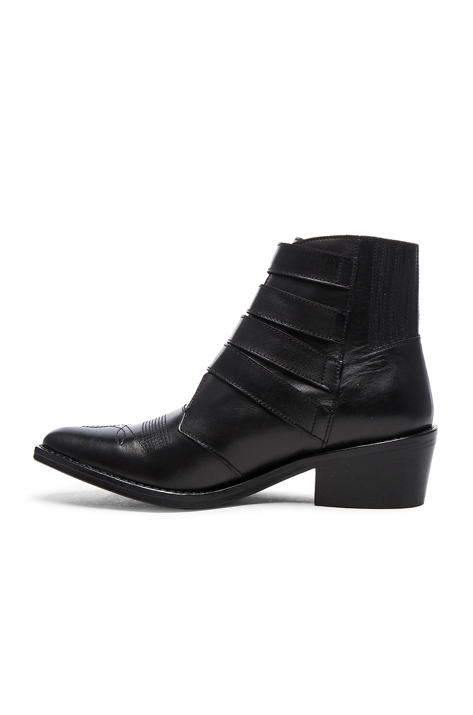 Image 5 of TOGA PULLA Buckled Leather Booties in Black Velvet