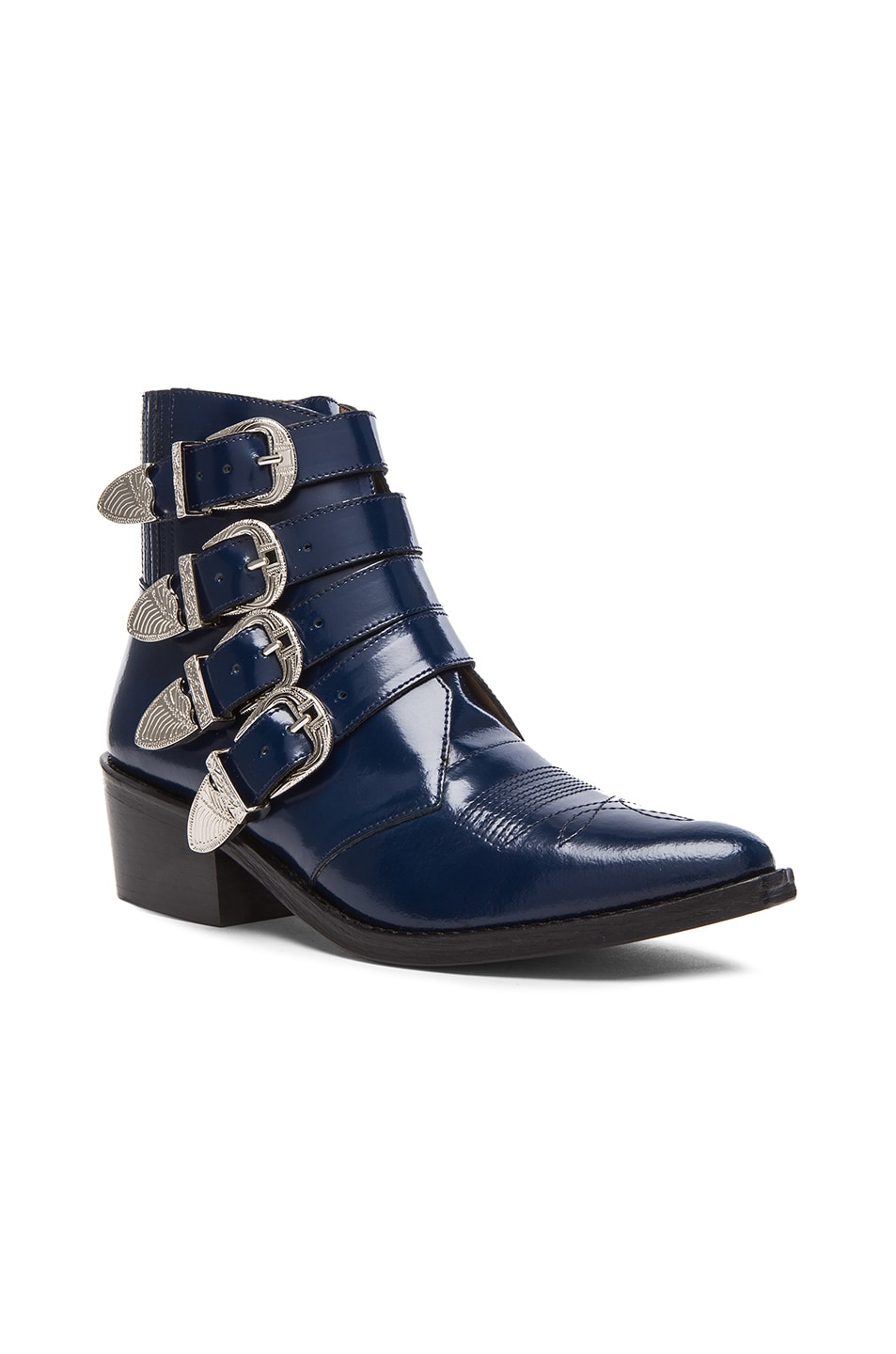 Image 2 of TOGA PULLA Leather Buckle Booties in Navy
