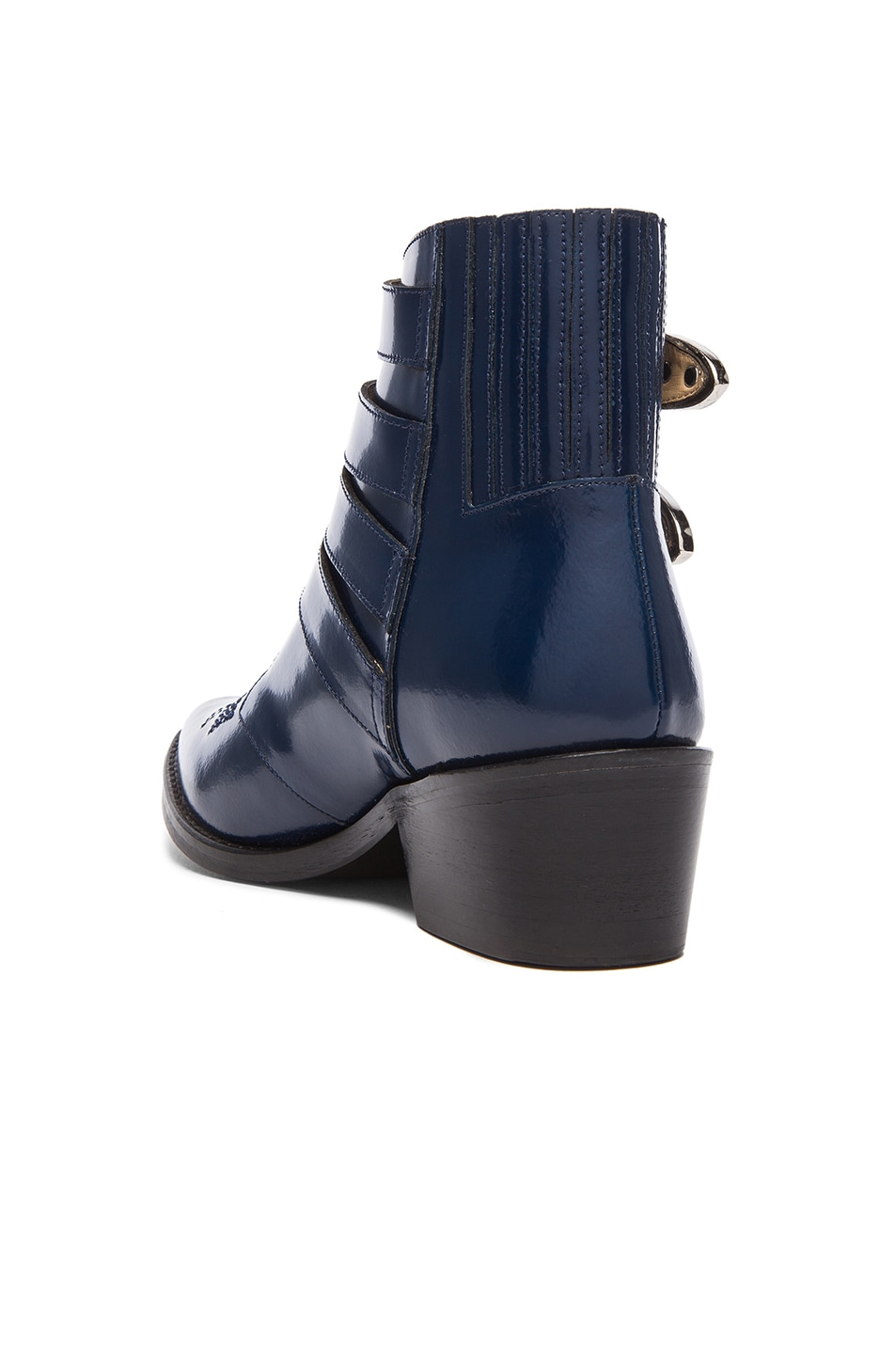 Image 3 of TOGA PULLA Leather Buckle Booties in Navy