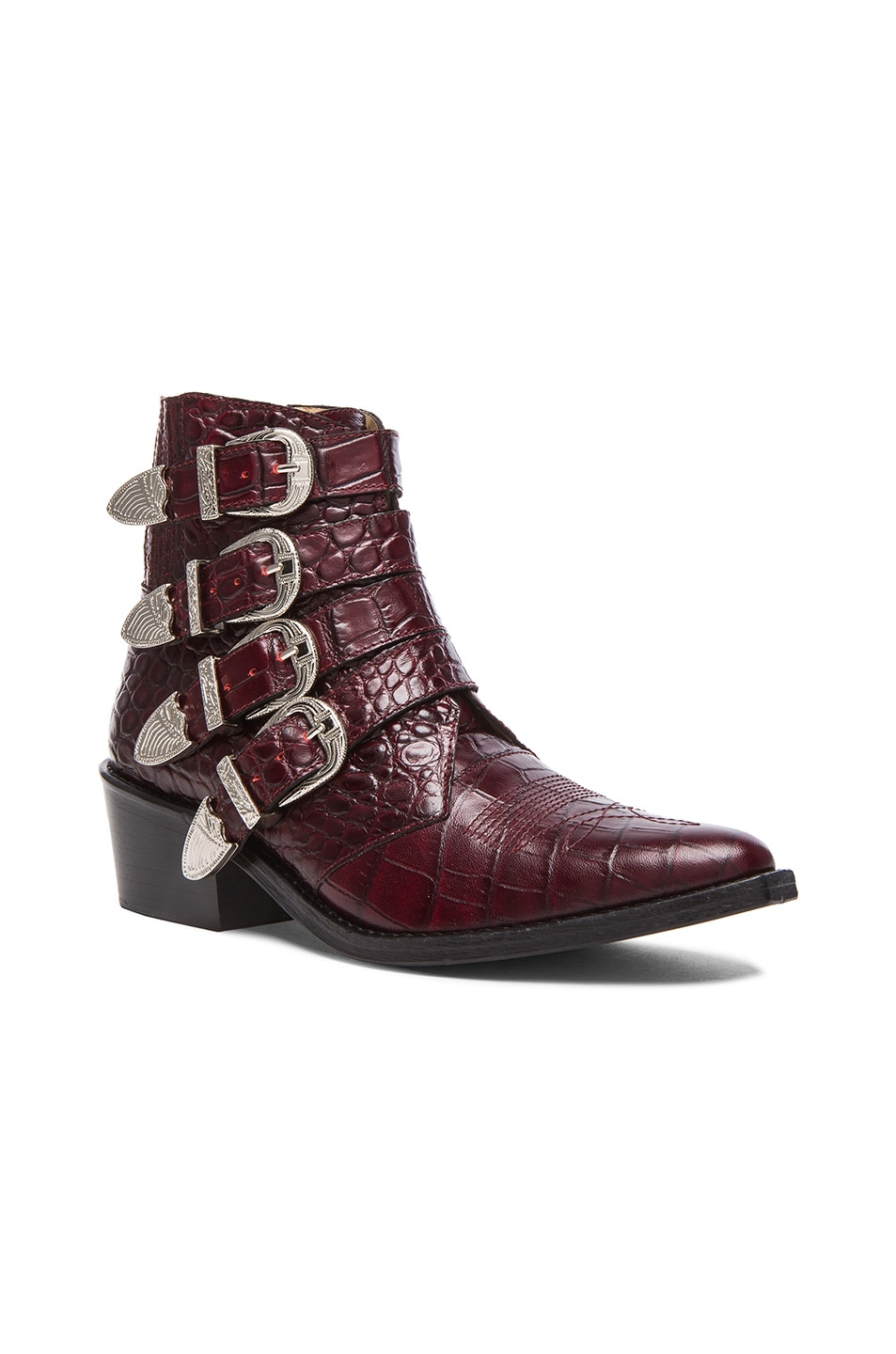 Image 2 of TOGA PULLA Embossed Leather Buckle Booties in Bordeaux